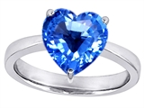 Star K™ Large 10mm Heart Shape Solitaire Ring With Simulated Blue Topaz style: 303775