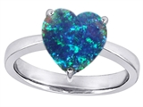 Star K™ Large Heart Shape Solitaire Ring with Simulated Blue Opal style: 303778