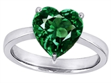 Star K™ Large 10mm Heart Shape Solitaire Ring with Simulated Emerald style: 303779