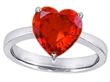 Star K™ Large 10mm Heart Shape Solitaire Ring with Simulated Mexican Fire Opal style: 303780