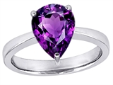 Star K™ Large 11x8 Pear Shape Solitaire Ring With Simulated Amethyst style: 303793