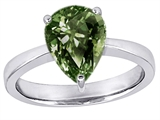 Original Star K™ Large 11x8 Pear Shape Solitaire Ring with Simulated Green Sapphire style: 303796