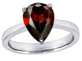 Star K™ Large 11x8 Pear Shape Solitaire Ring With Simulated Garnet style: 303797