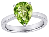 Star K™ Large 11x8 Pear Shape Solitaire Ring With Simulated Peridot style: 303804