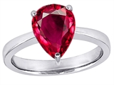 Star K™ Large 11x8 Pear Shape Solitaire Ring with Created Ruby style: 303807