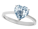 Tommaso Design™ Genuine Aquamarine Heart Shape 8mm Solitaire Engagement Ring style: 303865