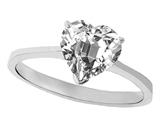 Tommaso Design™ Genuine White Topaz Heart Shape 8mm Solitaire Engagement Ring style: 303870