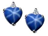 Star K™ Heart Shape 7mm Created Star Sapphire Earrings style: 303889