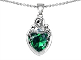 Star K™ Loving Mother Twin Children Pendant Necklace With 8mm Heart Shape Simulated Emerald style: 303917