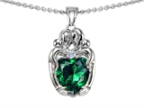 Star K™ Loving Mother And Twins Family Pendant Necklace With Heart Shape Simulated Emerald style: 303924