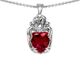 Star K™ Loving Mother And Twins Family Pendant Necklace With 8mm Heart Shape Created Ruby style: 303928