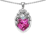 Star K™ Loving Mother Twins Family Pendant Necklace With 8mm Heart Created Pink Sapphire style: 303932