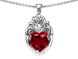Star K™ Loving Mother Twins Family Pendant Necklace With 8mm Heart Shape Created Ruby style: 303935