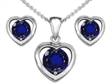Star K™ Created Sapphire Heart Pendant Necklace with matching earrings style: 303948