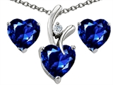 Star K™ Created Sapphire Heart Shape Pendant Necklace with matching earrings style: 303975