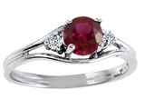 Tommaso Design™ Genuine Ruby and Diamond Ring style: 304001