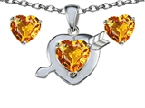 Star K™ Genuine Citrine Heart with Arrow Pendant Necklace with matching earrings style: 304033