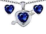 Star K™ Created Sapphire Heart with Arrow Pendant Necklace with matching earrings style: 304041