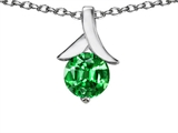 Star K™ Round 7mm Pendant Necklace with Simulated Emerald style: 304071