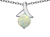 Star K™ Round Pendant Necklace with Simulated Opal style: 304073