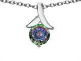 Star K™ Round 7mm Pendant Necklace with Rainbow Mystic Topaz style: 304084
