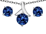 Star K™ Created Sapphire Round Pendant Necklace with matching earrings style: 304087