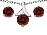 Star K™ Genuine Garnet Round Pendant Necklace with matching earrings style: 304092