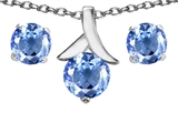 Original Star K™ Simulated Aquamarine Round 7mm Pendant with matching earrings style: 304096