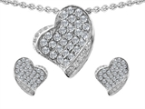 Star K™ Genuine White Topaz Heart Shape Love Pendant With Matching Earrings style: 304133