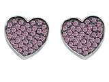 Star K™ Heart Shape Love Earrings with Created Pink Sapphire style: 304160