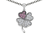 Star K™ Lucky Clover Pendant Necklace With Created Pink Sapphire style: 304177