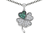 Star K™ Lucky Clover Pendant Necklace With Simulated Emerald style: 304178