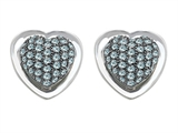 Star K™ Heart Shape Love Earrings with Simulated Aquamarine style: 304199