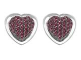 Star K™ Heart Shape Love Earrings with Created Ruby style: 304202