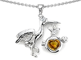 Star K™ Baby Stork Mother Pendant Necklace with Genuine Heart Citrine style: 304254