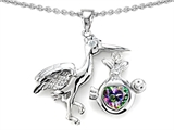 Star K™ Baby Stork Mother Pendant Necklace with Heart Shape Mystic Rainbow Topaz style: 304257