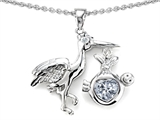 Star K™ Baby Stork Mother Pendant Necklace with 8mm Heart Shape Genuine White Topaz style: 304264