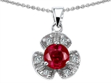 Star K™ Flower Pendant Necklace With Round 6mm Created Ruby style: 304289