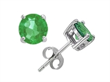 Star K™ Small Genuine 4mm Round Emerald Earrings Studs style: 304360