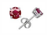 Star K™ Small Genuine 4mm Round Ruby Earrings Studs style: 304361