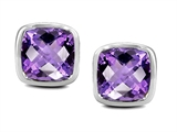 Star K™ Classic Cushion Checker Board Cut 6mm Genuine Amethyst Earrings Studs style: 304384