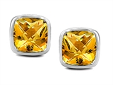 Star K™ Classic Cushion Checker Board Cut 6mm Genuine Citrine Earrings Studs style: 304387