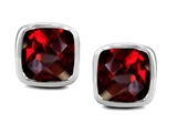 Star K™ Classic Cushion Checker Board Cut 6mm Genuine Garnet Earrings Studs style: 304388