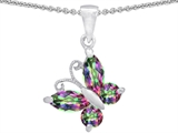 Star K™ Butterfly Pendant Necklace Made with Rainbow Mystic Topaz style: 304390