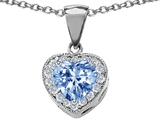 Original Star K™ 8mm Heart Shape Simulated Aquamarine Pendant style: 304431