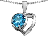Star K™ Heart Shape Pendant Necklace With Round 7mm Simulated Aquamarine style: 304433