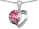 Star K™ Heart Shape Pendant Necklace With Round 7mm Created Pink Sapphire style: 304442