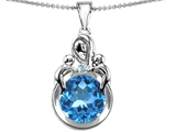 Star K™ Large Loving Mother With Twins Children Pendant Necklace With Round 10mm Simulated Aquamarine style: 304456
