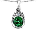 Star K™ Large Loving Mother With Twins Children Pendant Necklace With Round 10mm Simulated Emerald style: 304460