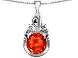 Star K™ Large Loving Mother With Twins Children Pendant Necklace With Round Simulated Mexican Fire Opal style: 304461